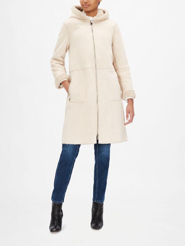 Faux Shearling Hooded Coat