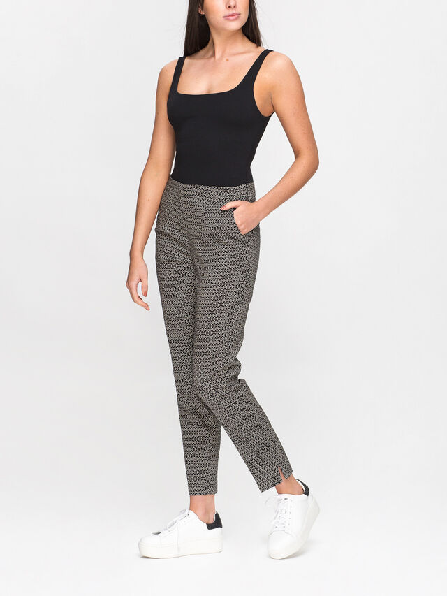 Printed High Waist Pull on Trouser