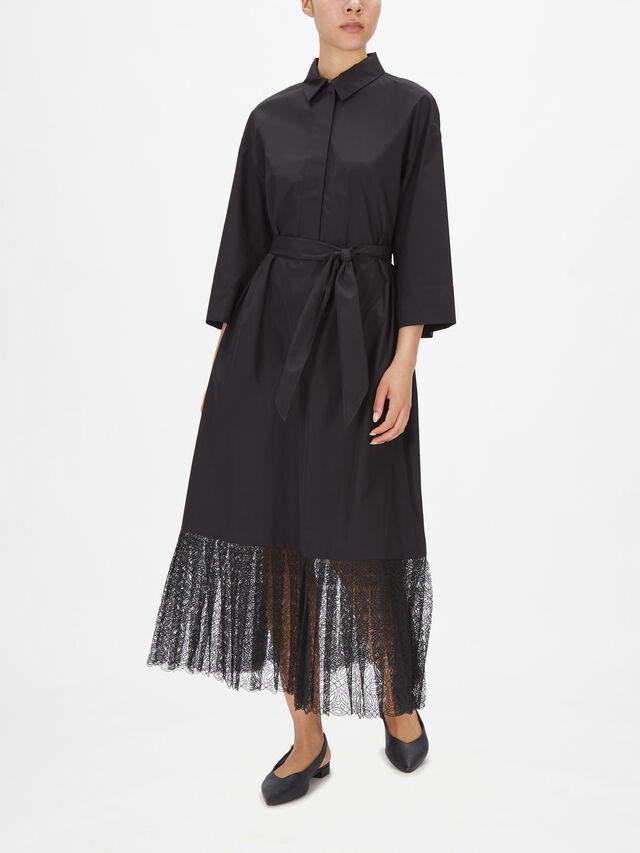 Crop Sleeve Midi Shirt Dress with Lace Hem Panel