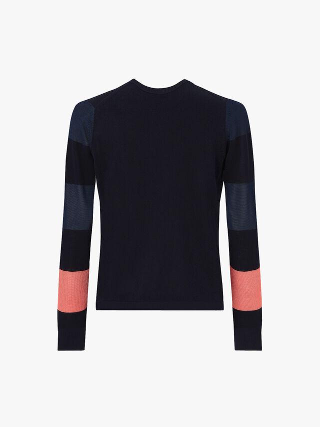 Stripe Sleeve V Neck Knit