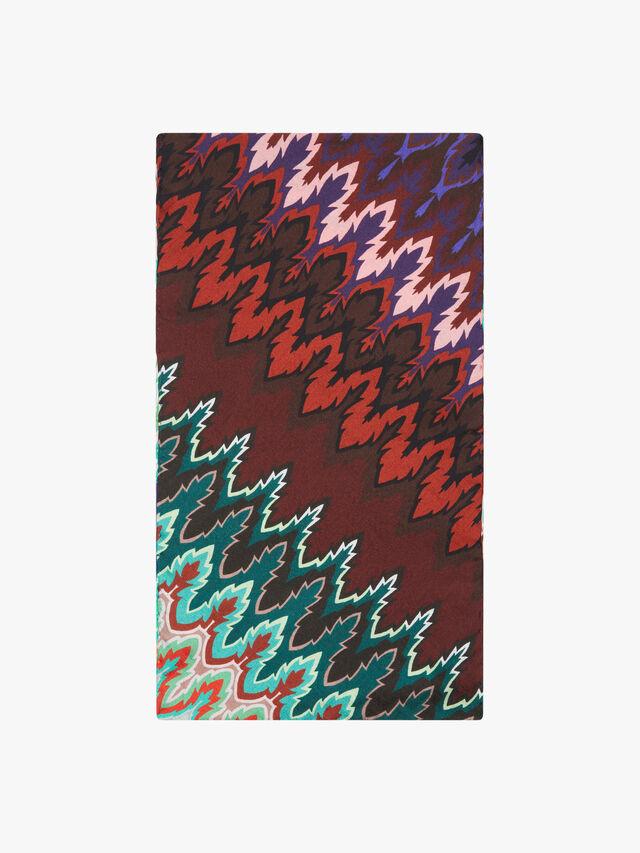 Narrow Silk Zig Zag Stripe Scarf