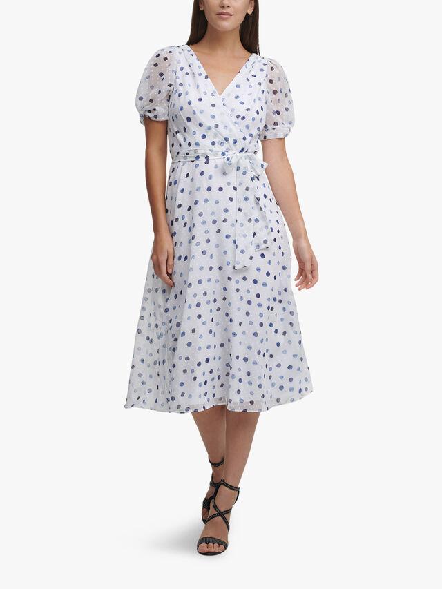 Knot Sleeve Printed Wrap Midi Dress