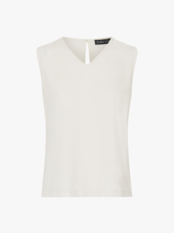 Short V Neck Shell Sleeveless Top