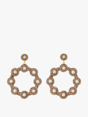 Golden Pearl Hoop Earrings
