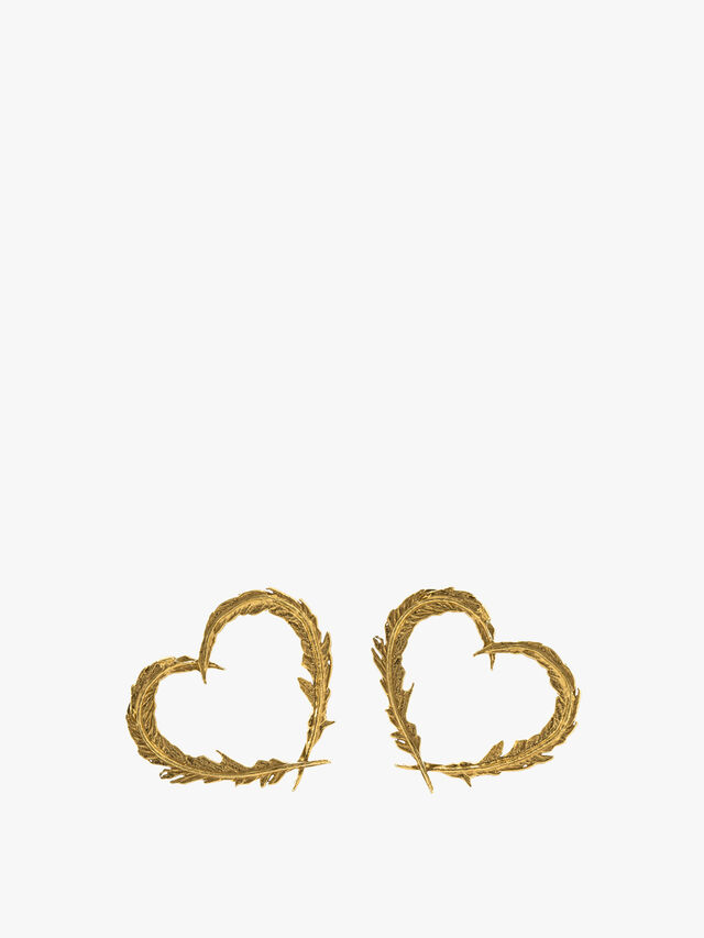Delicate Feather Heart Studs