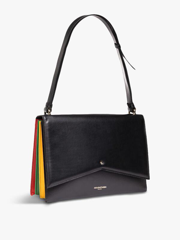 Delphine Black Rainbow Shoulder Bag