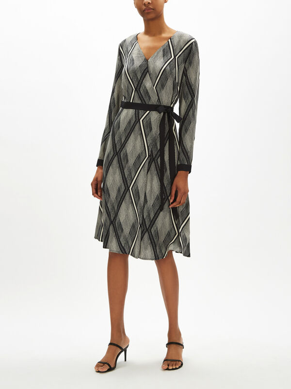 Wrap Over Tie Waist Dress