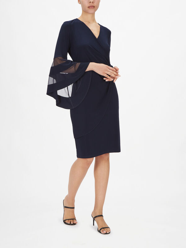 Wrap Dress with Fluted Mesh Detail Sleeve