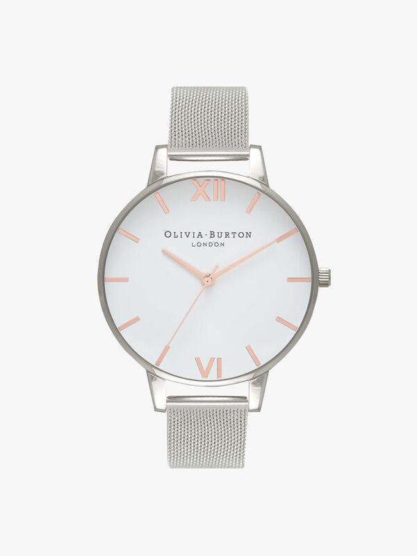 White Dial Mesh Watch