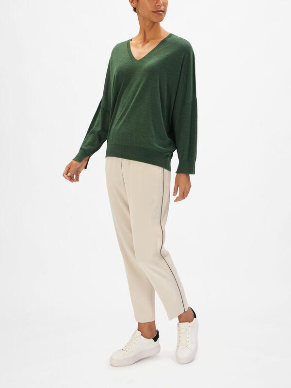Silk Mix Lightweight V Neck Knit