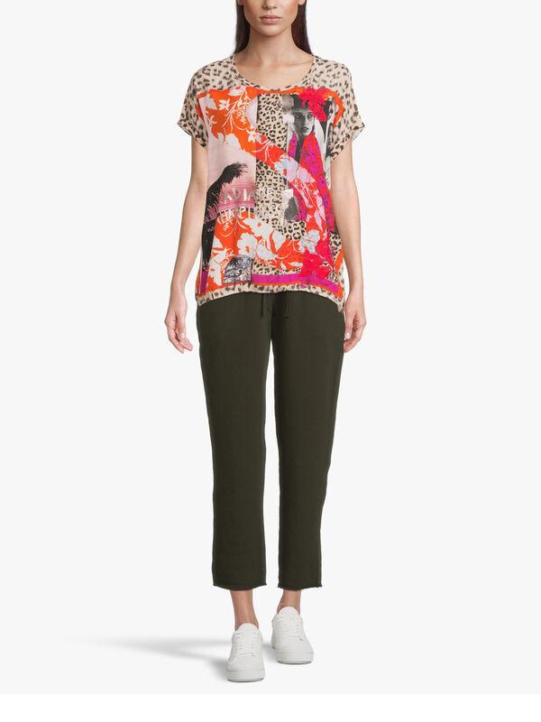 Drop Shoulder Photo Motif Leopard Print T Shirt