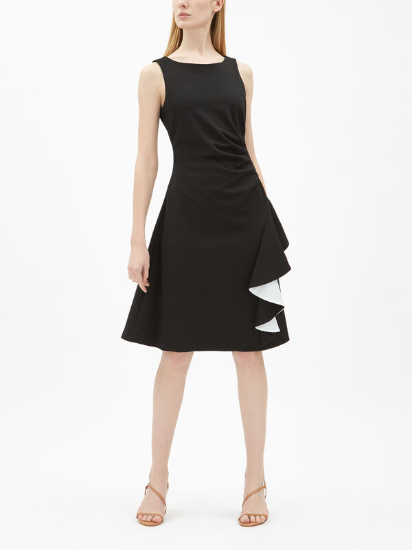Contrast Frill Ruched Dress