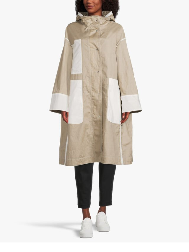 A Line Resin Coated Hooded Linen Coat with Patch Pockets