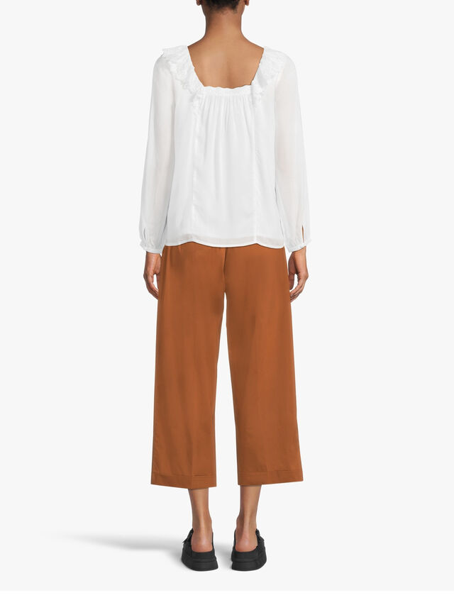 Turn Up Cropped Cotton Pull On Trouser