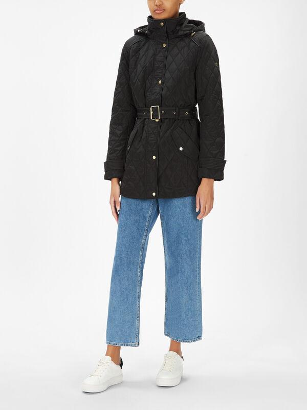 Short Quilted Belted Jacket
