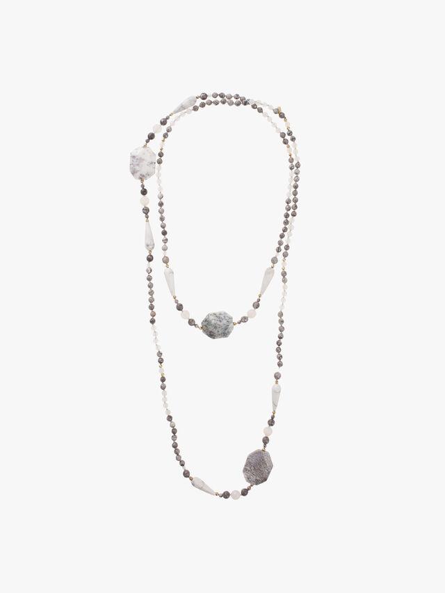Long Moonstone Netstone Beaded Necklace
