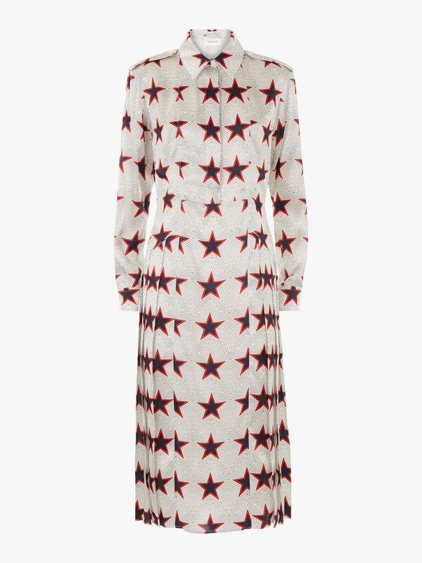 Fazio Star Print Side Pleat Dress