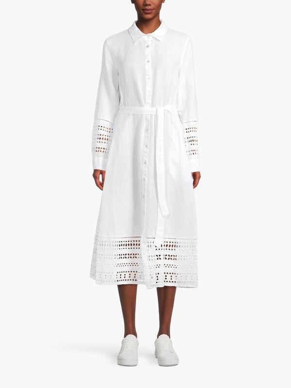 Broderie Anglaise Hem Midi Shirt Dress With Waist Tie