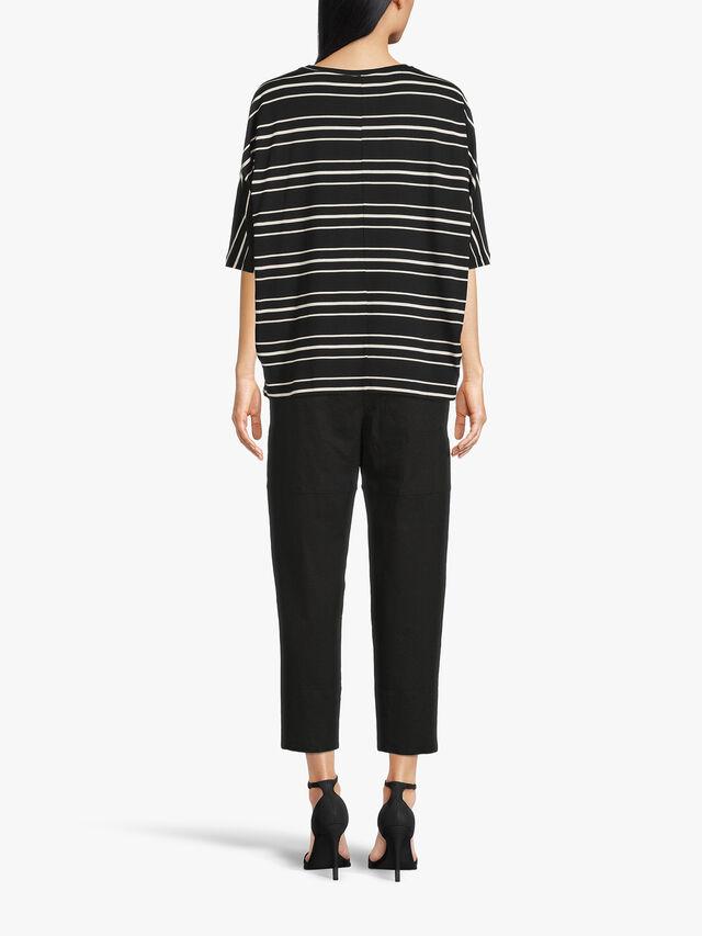 Emel Drop Shoulder Crop Sleeve Stripe Jersey Top