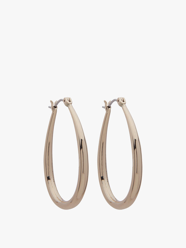 Teardrop Gold Tone Hoop Earrings