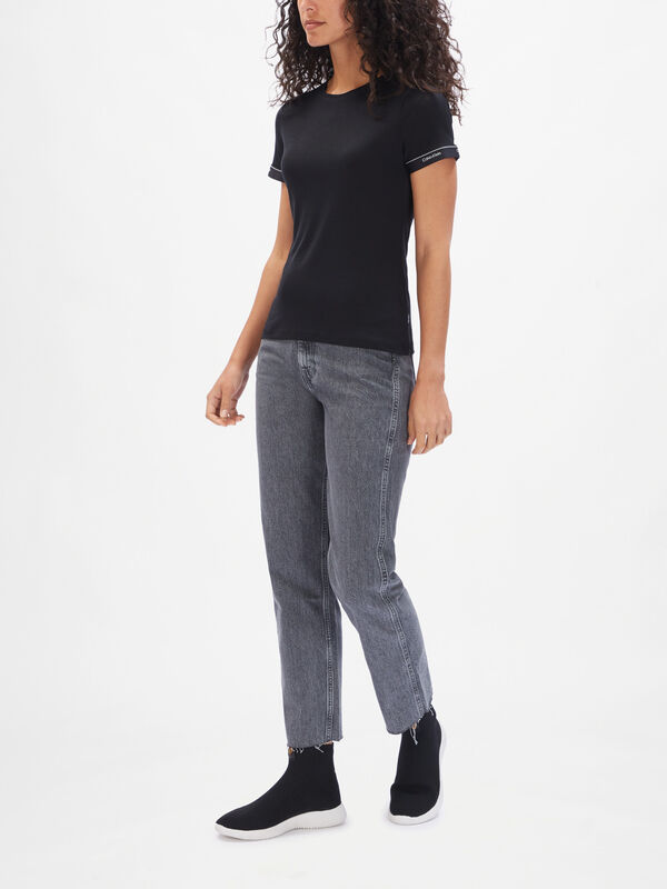 Short Sleeve Logo Cuff Top