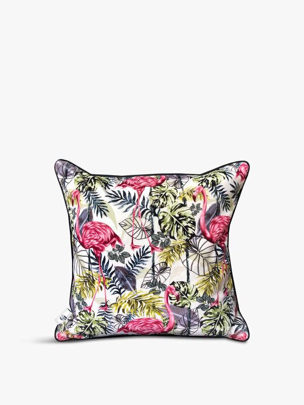 Velvet Front Tropical Flora Cushion