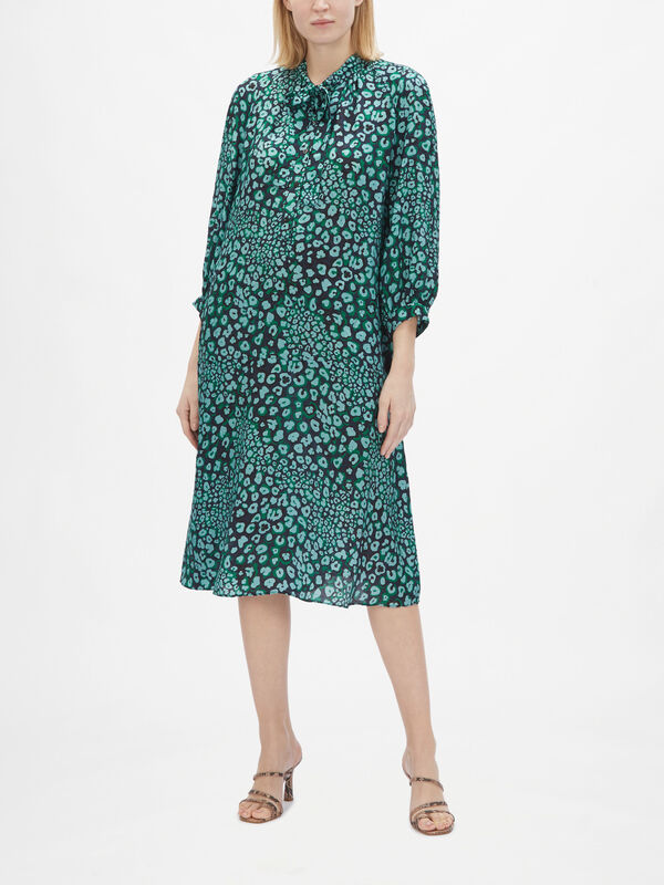 3/4 Sleeve A Line Dress with Neck Tie