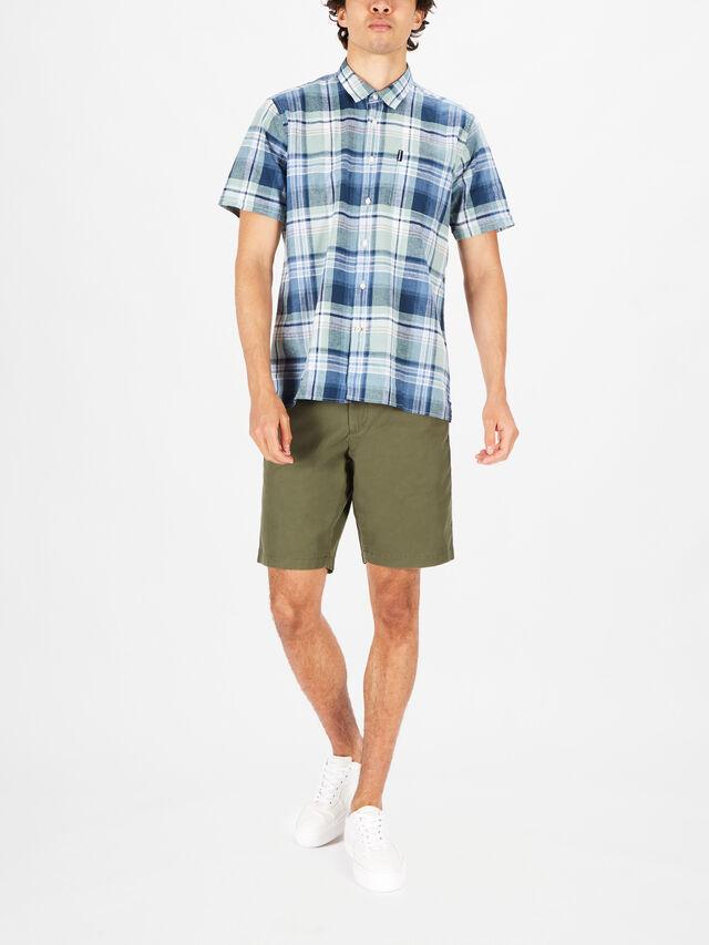 Linen Mix Checked Short Sleeved Shirt
