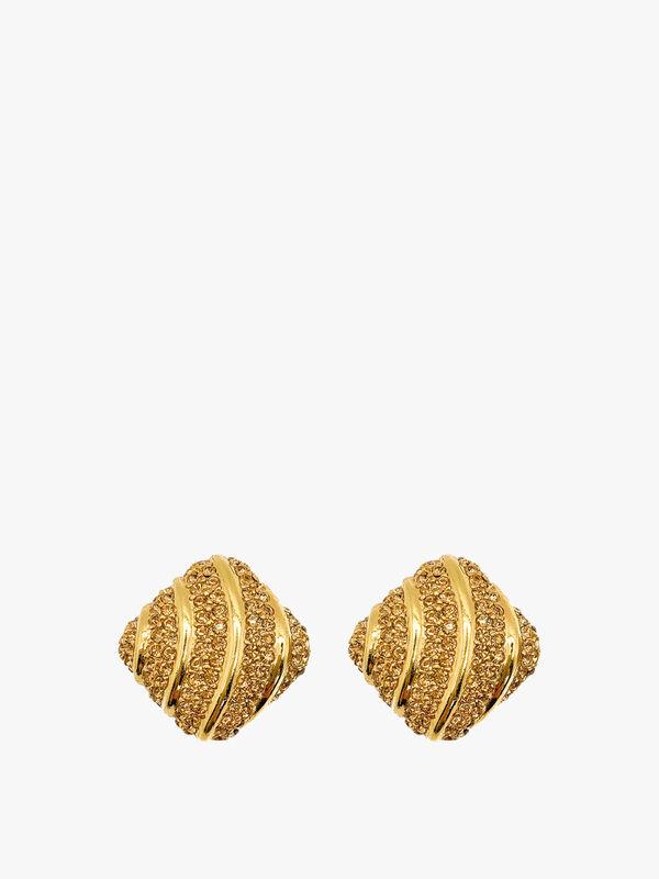 Vintage Ciner Citrine Crystal Earrings