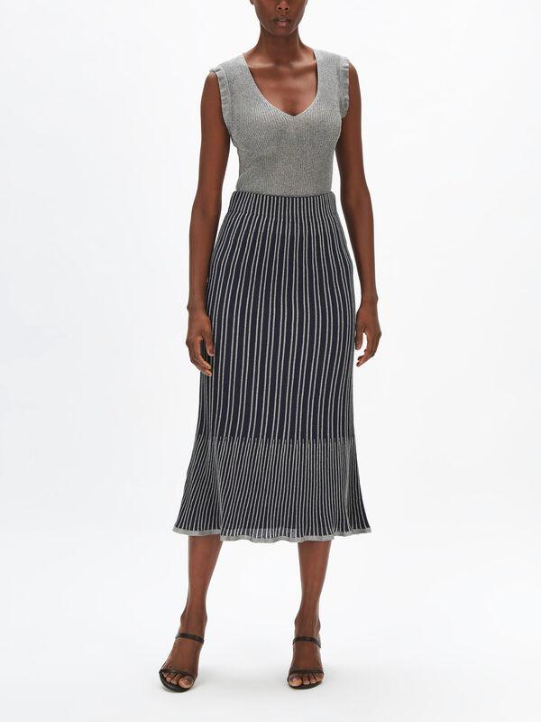 Lurex Stripe Rib Knit Skirt