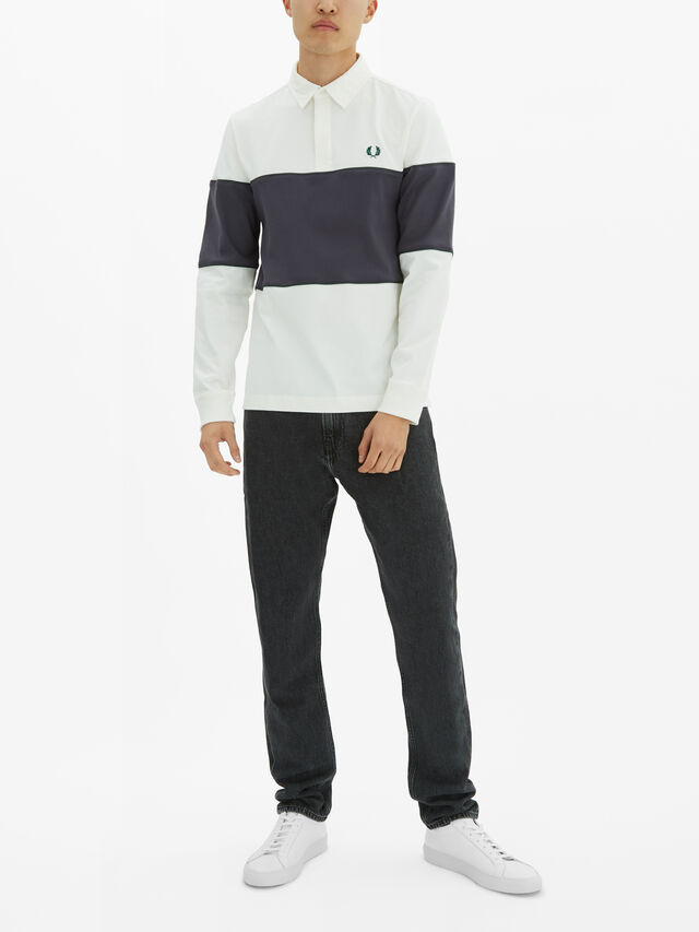 Panelled Long Sleeve Polo Shirt