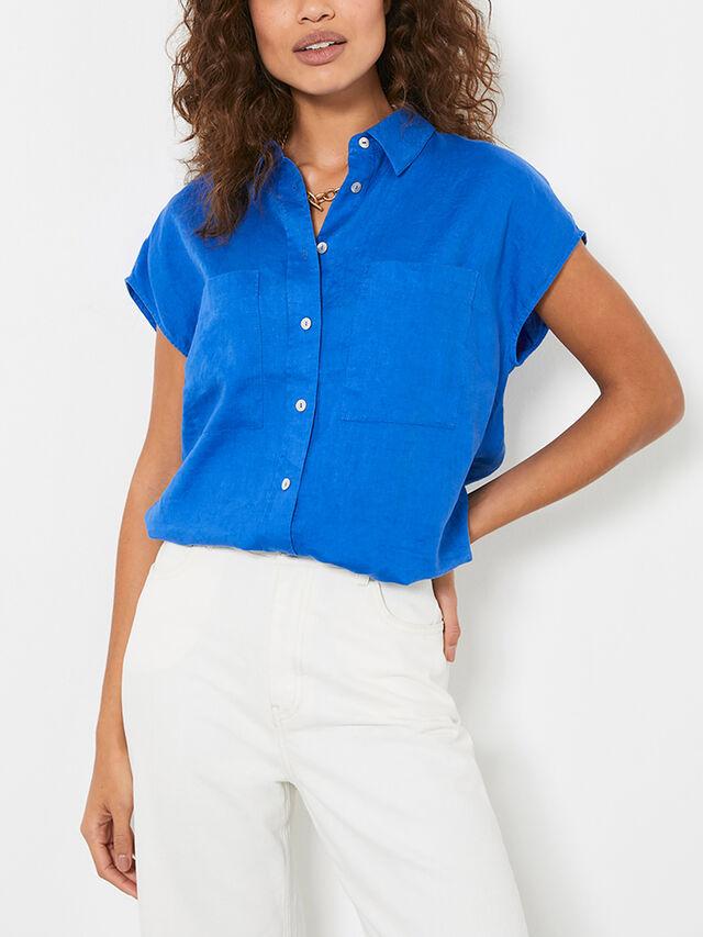 Blue Short Sleeve Linen Shirt