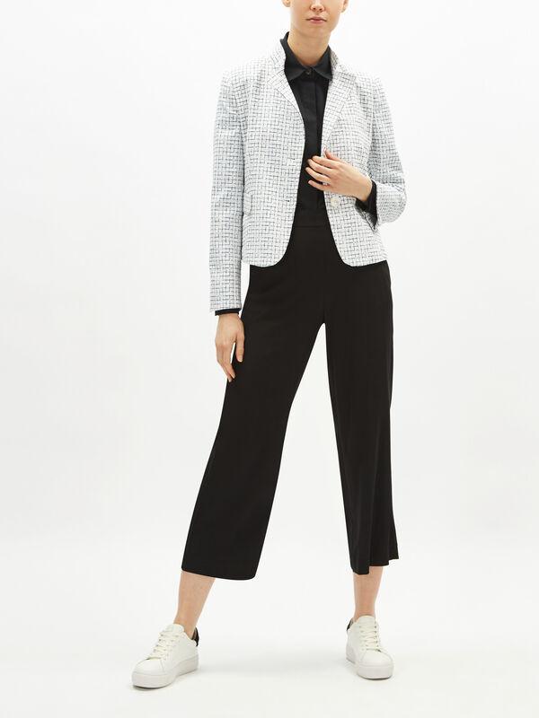 Grid Print Textured Jacket