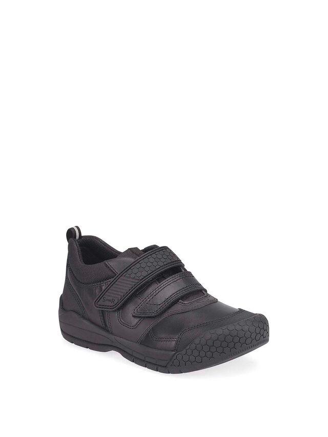 Strike Black Leather School Shoes
