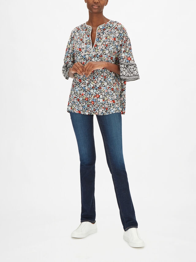 Floral Trimmed Sleeve Top