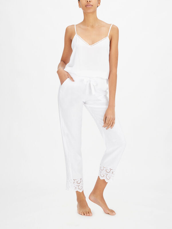 Leah White All Over Embroidery Pant