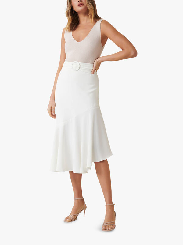 Anna Asym Belted Midi Skirt