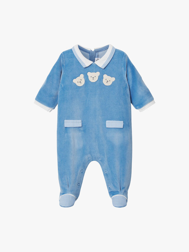 Velour Teddy Babygrow