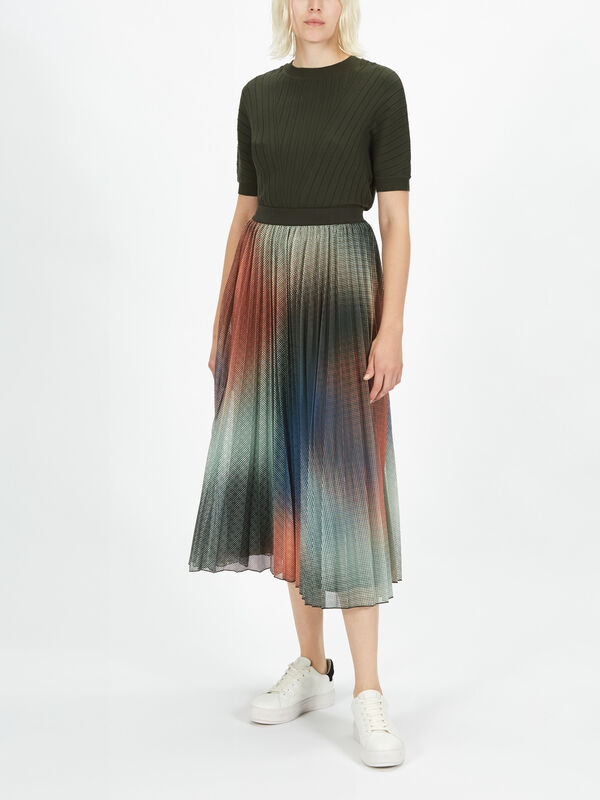Diga Spray Print Pleated Skirt