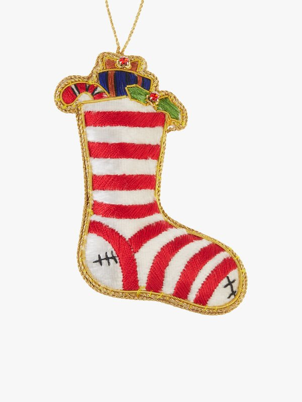 Red Striped Stocking With Crystals Decoration