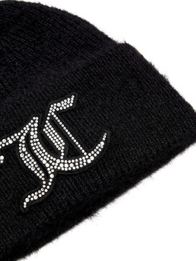Freja Fluffy Knit Beanie with JC Diamante Patch