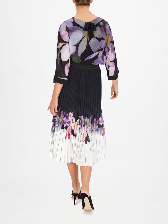 Flower Print Hem Pleated Midi Skirt