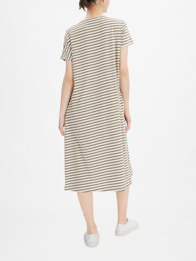 Jersey Stripe A line Midi Dress