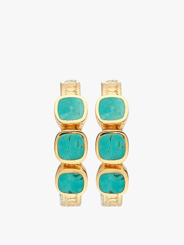 Turquoise Multi- Stone Hoop Earrings