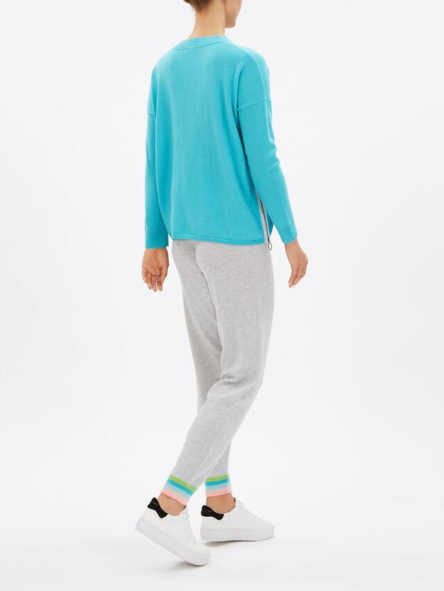 V-Neck Solid Knit Zip Sides