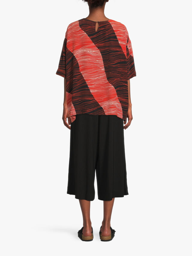 Degana Line Print Drop Shoulder Blouse