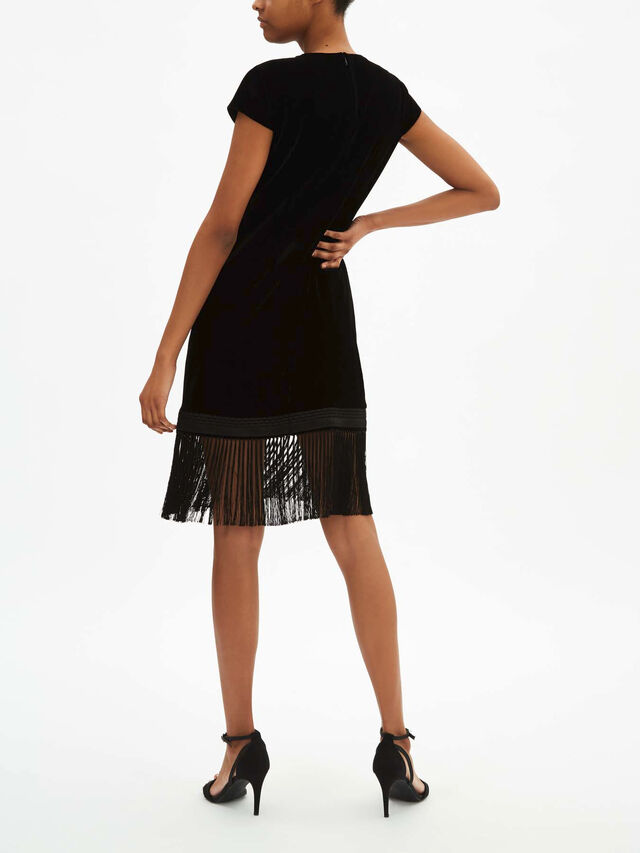 Olive Dress With Fringe Hem