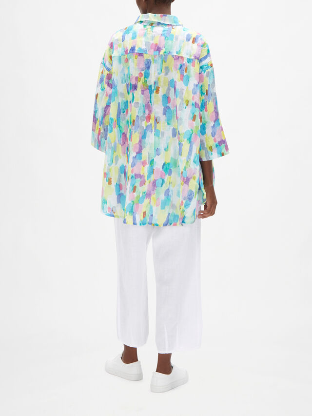 Watercolour Print Linen Relaxed Fit Shirt