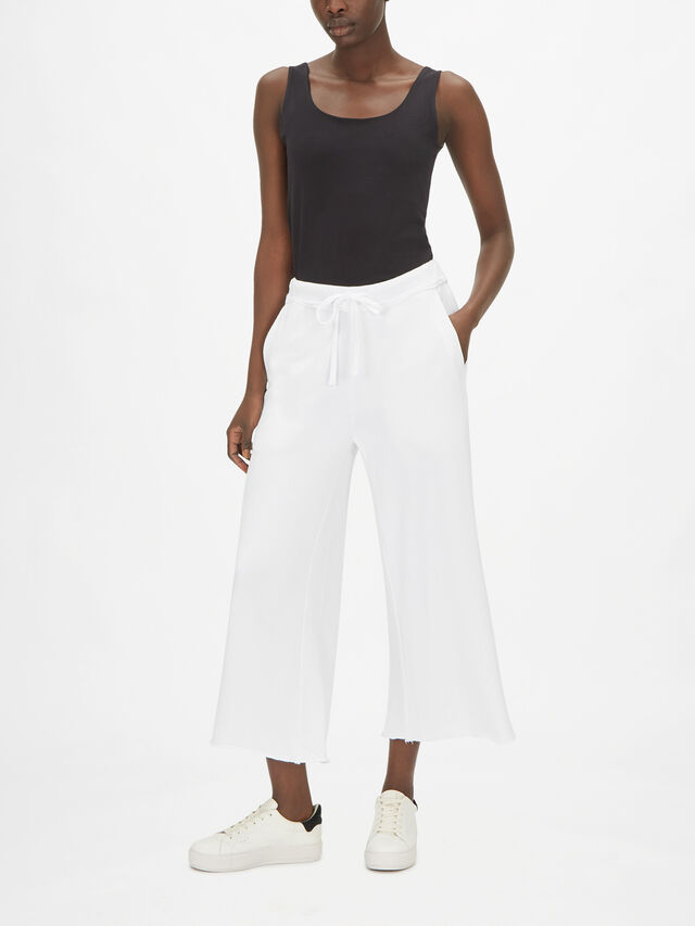 French Terry Wide Leg Crop Trouser
