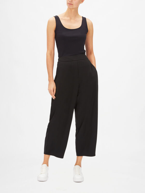 Zip Front Wide Leg Trousers